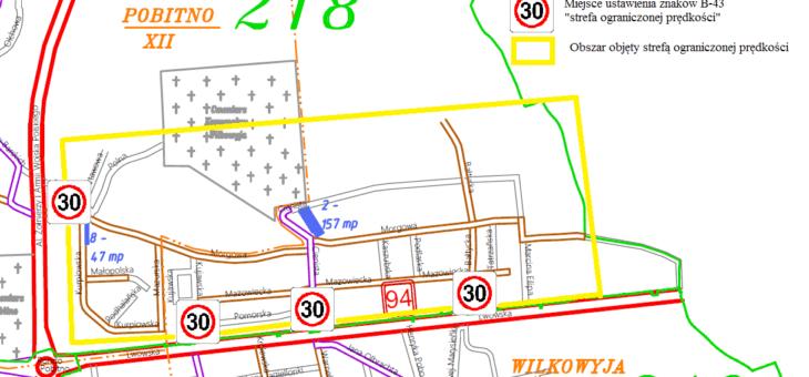Strefa ograniczonej prędkości na częściach osiedli Pobitno i Wilkowyja