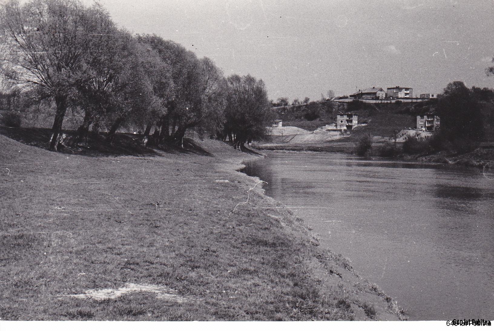 Widok na Pobitno z lewego brzegu Wisłoka, lata '60 lub '70,