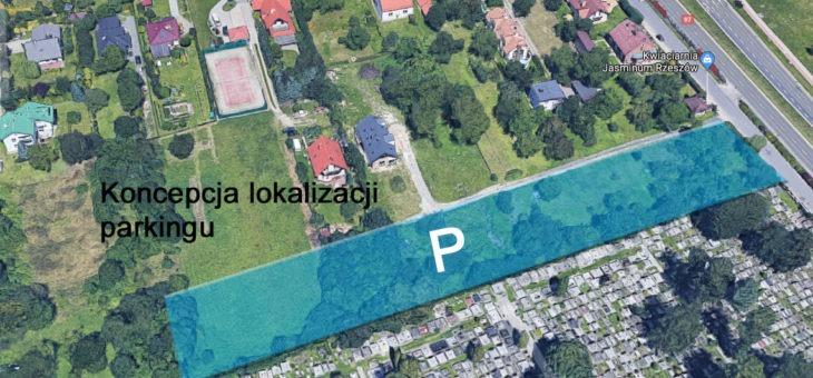 Nowy parking przy starym cmentarzu Pobitno