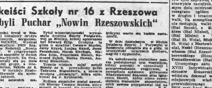 """Drużyna ze Słociny wicemistrzem w hokeju o puchar """"Nowin Rzeszowskich"""""""